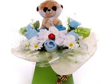 Baby Clothing Bouquet, clothing gift baby boy, sock bouquet, Mum to be gift, New baby gift idea, Meerkat Soft Toy, baby boy gift idea.