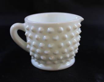 Fenton Hobnail Milk Glass Creamer Small Pitcher
