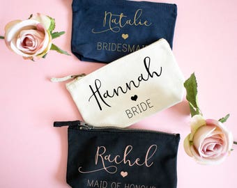 Personalised Stylish Handwritten Bridesmaid Makeup Bag, Wedding cosmetic bag, Gifts for the Bride, Accessory Bag, Gifts for the bridesmaid