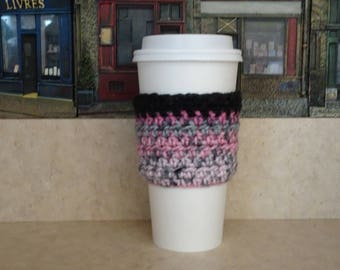 Pink & Gray Coffee Cup Sleeve, Crochet multi-gray Cup Sleeve, Crochet Cup Cozy, Cup Cozy, Reusable Cup Sleeve, Coffee or Tea Lover Gift