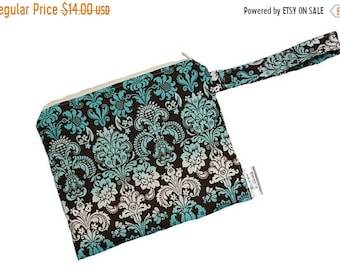 Spring Sale Turquoise Damask - 7x9-Wipes/Utility/Wet Bag - SEAM SEALED- Snap strap