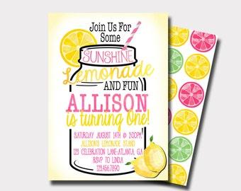 Lemonade Birthday Invitation   Lemonade Stand Birthday Invitation    Summer Birthday Invitation