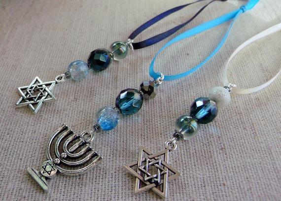 Hanukkah ornaments - small gift  set - teal crystals - hanging home decor - star of David - set of 3 - Menorah Jewish design - Lizporiginals