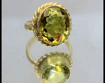 29.85Ct Certified US Size-7.5 Yellow Citrine Ring Gems 925 Sterling Silver AU3486