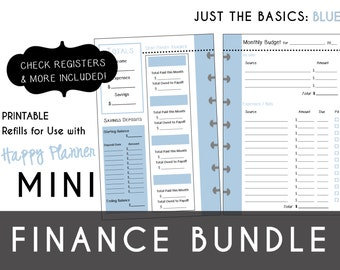MINI Happy Planner FINANCE Bundle  Check Register, Monthly Budget, Debt Payoff Tracker, Debtor Contacts Passwords Printable PDF Blue