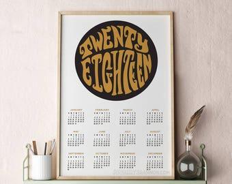 Modern Calendar, Poster Calendar 2018, 2018 Wall Calendar, Large Wall Calendar, Abstract Calendar 13x19