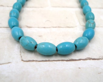 Turquoise Rice Oval - Turquoise RIce Bead - Blue Turquoise Bead - Turquoise Oval Bead - Turquoise Magnesite - Blue Turquoise Oval Turquoise