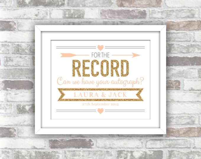PRINTABLE Digital File - Wedding Record Guestbook - For the Record Can We Have Your Autograph? - Gold Glitter Effect Blush Peach-Pink - 8x10