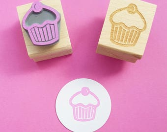 Mini Cherry Cupcake Rubber Stamp - Cake Stamper - Gift for Baker - Baking Supplies - Gift for Mother - Papercrafting Supply - Scrapbooking