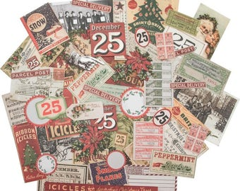 CHRISTMAS EPHEMERA PACK, Tim Holtz Festive, Christmas Die Cuts, Retro Christmas Die Cuts, Vintage Christmas Ephemera, Ideaology Festive