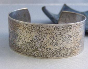 Flourish,Bracelet,Cuff,Silver Bracelet,Cuff Bracelet,Bracelet,Silver,Antique Bracelet,Wedding,Bride,Silver Cuff,Floral, valleygirldesigns.