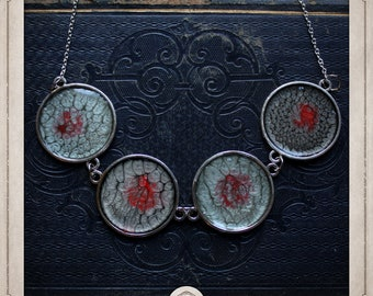 PLANETS necklace in silver enamelled in grey and Red COPR10