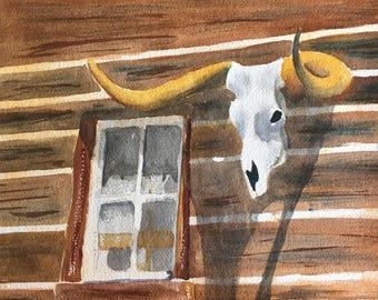 Cow Skull Bull Skull Painting Cow Decor Cow Art Cow Print Original Barn Door Watercolor Painting Rustic Decor Cabin Decor Western Art
