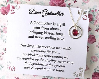 BIRTHSTONE GODMOTHER Necklace Representing Godchild POEM Card Stunning Cubic Zirconia Sterling Silver Godmother Jewelry Godmother Gift Wrap