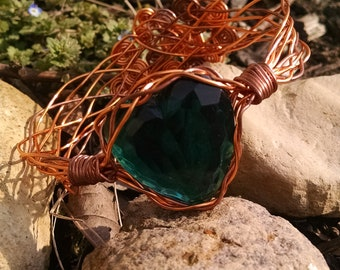 Blue green and copper heart bracelet