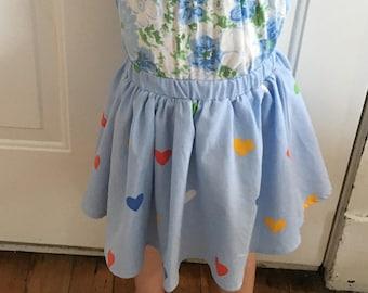 Sweet As Pie Skirt| Blue| Hearts| Cotton| Girls