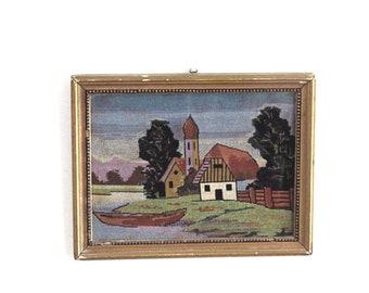 Vintage framed landscape embroidery, cross stitch framed vintage wall art.