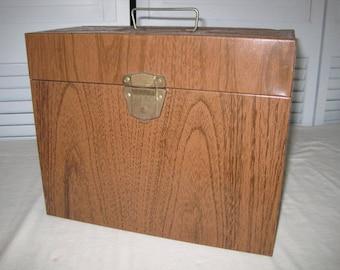 vintage Ballanoff Metal File Box in Faux Bois finish