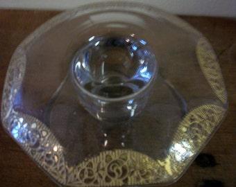 Paden City Glass Vintage 1930's Triumph Pattern #701 Rose Ebossed w/ Gold Overlay