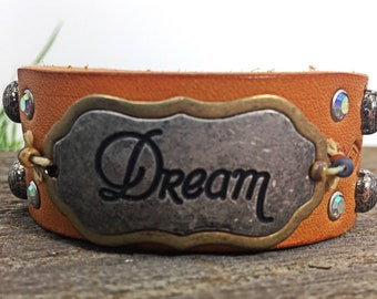 """Inspirational 1""""Wide Stamped Leather Cuff with Rhinestones and Decorative Dome Spots/Leather Cuff/Leatjer Bracelet"""