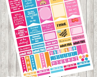 PRINTABLE-Adulting Stickers - Berry Flavored (Adult stickers, Adult sayings, Full Boxes, I can't adult stickers, Erin Condren, Plum Paper)
