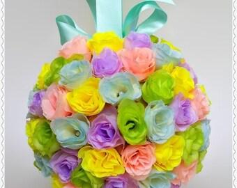 Rainbow rosebud kissing ball, bridesmaid pomander, church pew decor, wedding decor, flower girl kissing ball, alternative bouquet, keepsake