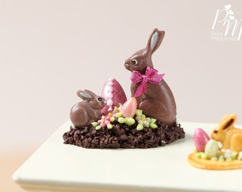 MTO-Chocolate Easter Rabbit Family Display (F) - Miniature Food in 12th Scale for Dollhouse