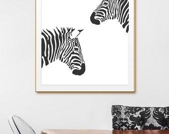 Animal Wall Art, Animal Black and White Prints. Zebra Black and White Print, Zebra print, Zebra Art, Zebra Wall Art. Black white wall decor