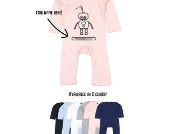 Baby Robot Bodysuit, Baby one piece, robot bodysuit, robot romper, personalized robot bodysuit, customized robot romper, baby shower gift
