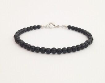 Black onyx bracelet Black bead bracelet 4 mm onyx bead Stone bracelet Simple bracelet Bff gift