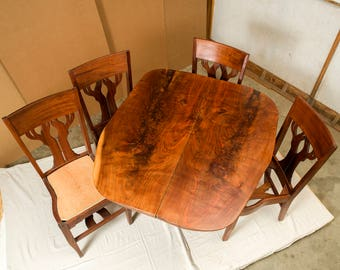 Natural Live Edge Bear Face Table and Black Walnut Tree back chairs