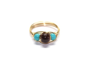 Glass beaded ring in turquoise and brown, gold toned wire wrapped, any size, simple everyday jewelry