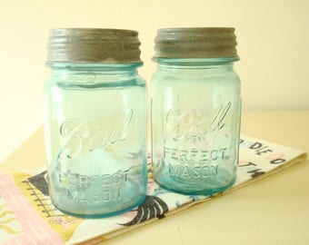 2 vintage Ball jars, pint size Perfect Mason fruit jars, one has 8 ribs, 1930s canning jars, aqua blue Ball jars, cottage style food storage