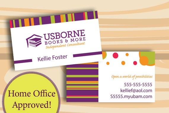 Usborne business cards printed cards only two sided business like this item reheart Image collections
