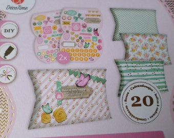 x 1 block of 20 boxes oval to oneself various patterns & die cut deco 8.5 x 8 cm