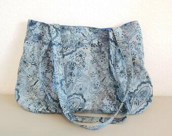 Blue Batik Paisley Pleated Shoulder Bag