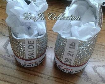 Wedding Converse, Bridal Converse, Personalized Converse, Bling Converse, Wedding Sneakers, Crystal Converse, Rhinestone Converse, Pearl