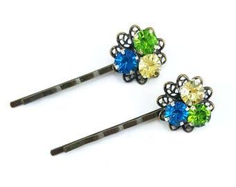 Colorful Rhinestone Hair Pins - Green Yellow Blue Rhinestone Bobby Pins, Jeweled Hair Pins
