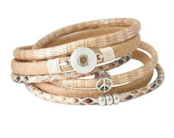 Mini Snap Bracelet small snap charms petite Ginger Snaps Jewelry. Leather warp bracelet magnetic closure