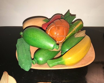 Jamaican Made Carved Wood Fruit Bowl With Hand Made Carved & Painted Fruit and Vegetable Pieces