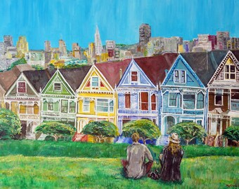 "Couple at Alamo Park, Painted Ladies San Francisco California Painting by marinelaArt - Acrylic Fine Art on 30"" x 24"" Large Canvas Paintings"