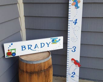 Cars and Planes Growth Chart, Baby room decor, Cars and Trucks Growth Chart, Decorated Wooden Growth Charts, Travel Nursery