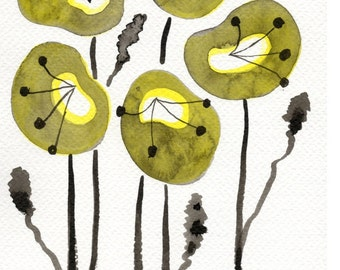 Watercolor Painting: Watercolor Flower Painting -- Art Print --  Yellow Poppies -- 5x7