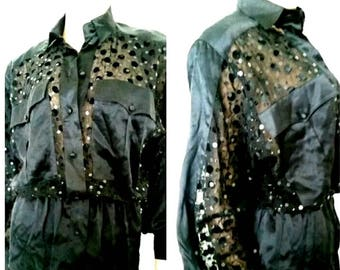 Rare vintage 100% silk Escada blouse with sequin and peek-a-boo pockets