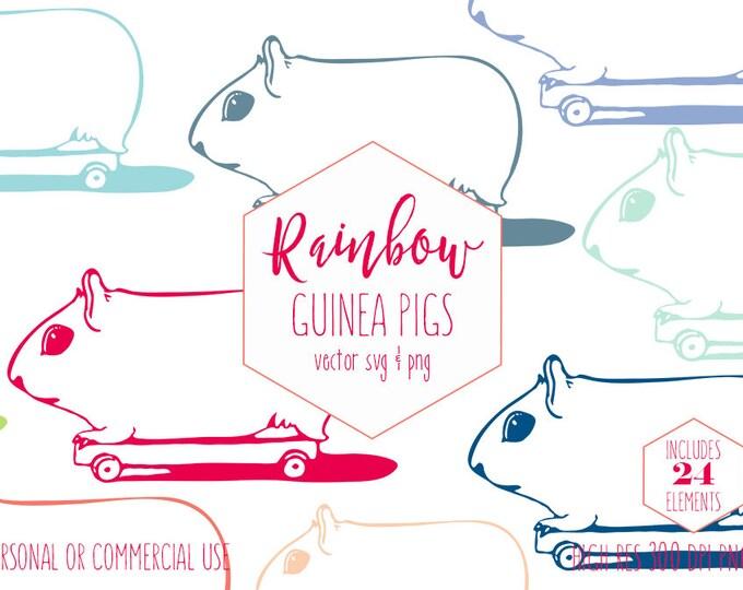 SKATEBOARD GUINEA PIG Clipart for Commercial Use Clip Art for Kids Pet Hamster Cute Skater Pet Rainbow Color Fun Vector Digital Graphics Svg
