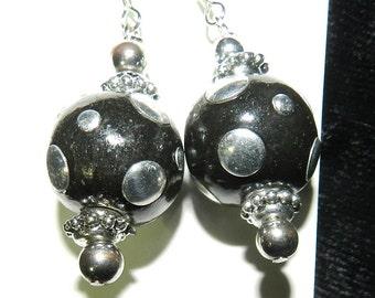 Earrings, Black and Silver, Dangles