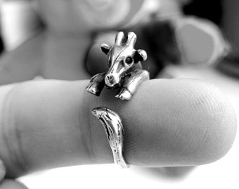 STUNNING Sterling Silver Ring Giraffe Ring COOL Animal Ring Best Selling Solid Silver Animal Jewelry, Jewellery Sizes - 3, 4, 5, 6, 7