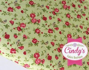 Windermere Clover Green,  Pink Floral Moda Cotton Quilt Fabric by the 1/2 yard #18611 13
