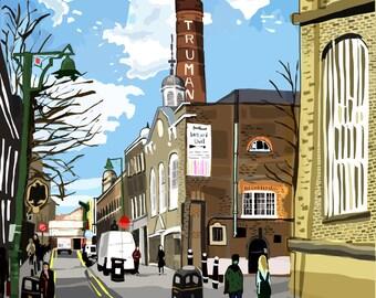 Truman Brewery, Brick Lane, Shoreditch, East London Art Print