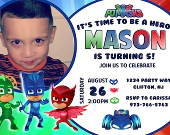 PJ Mask Photo Invitations  and more...